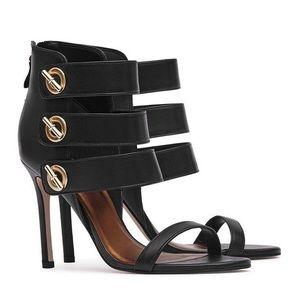 Reiss Hawthorne Triple Strap Heels Black Size 6